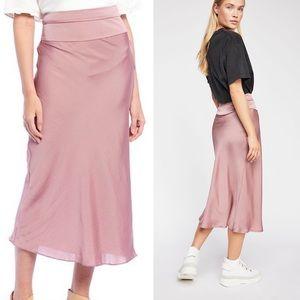 Free People Normani Bias Satin Midi Skirt 12 NEW
